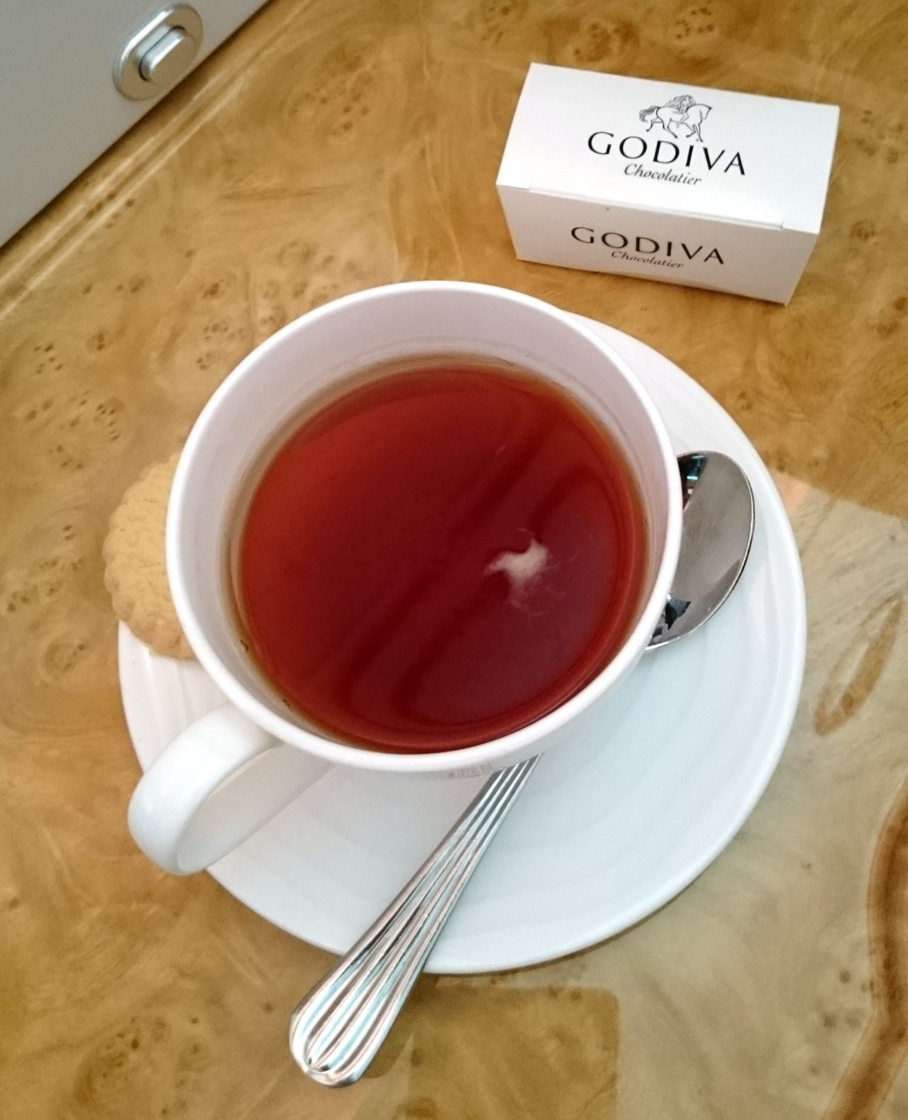 tea cup and godiva