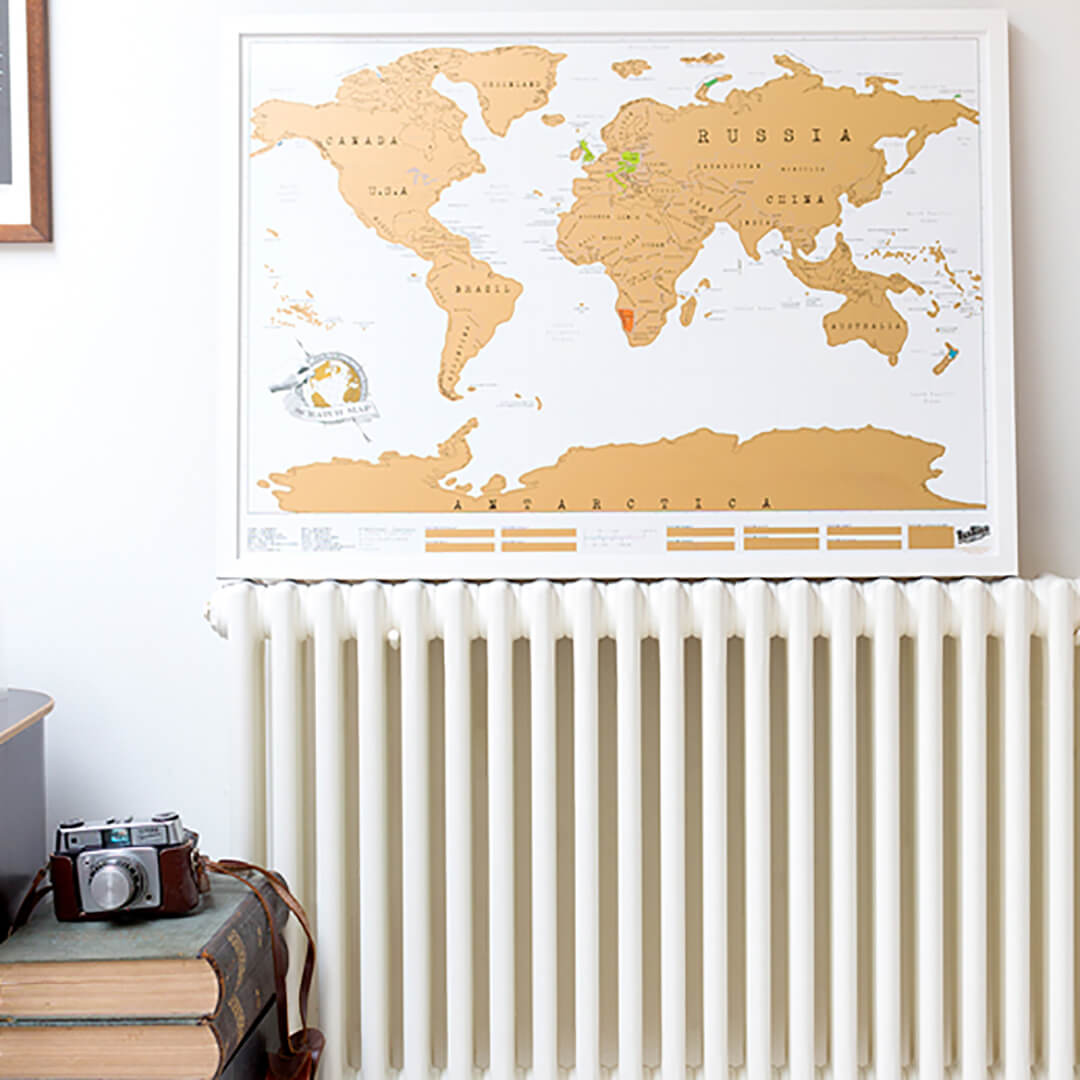 A Scratch Map To Remember All Of Your Trips Passport Palmtree - Framed scratch world map