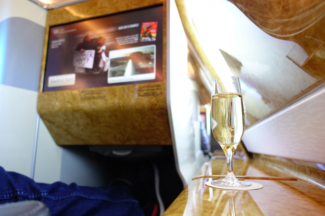 Emirates A380 champagne