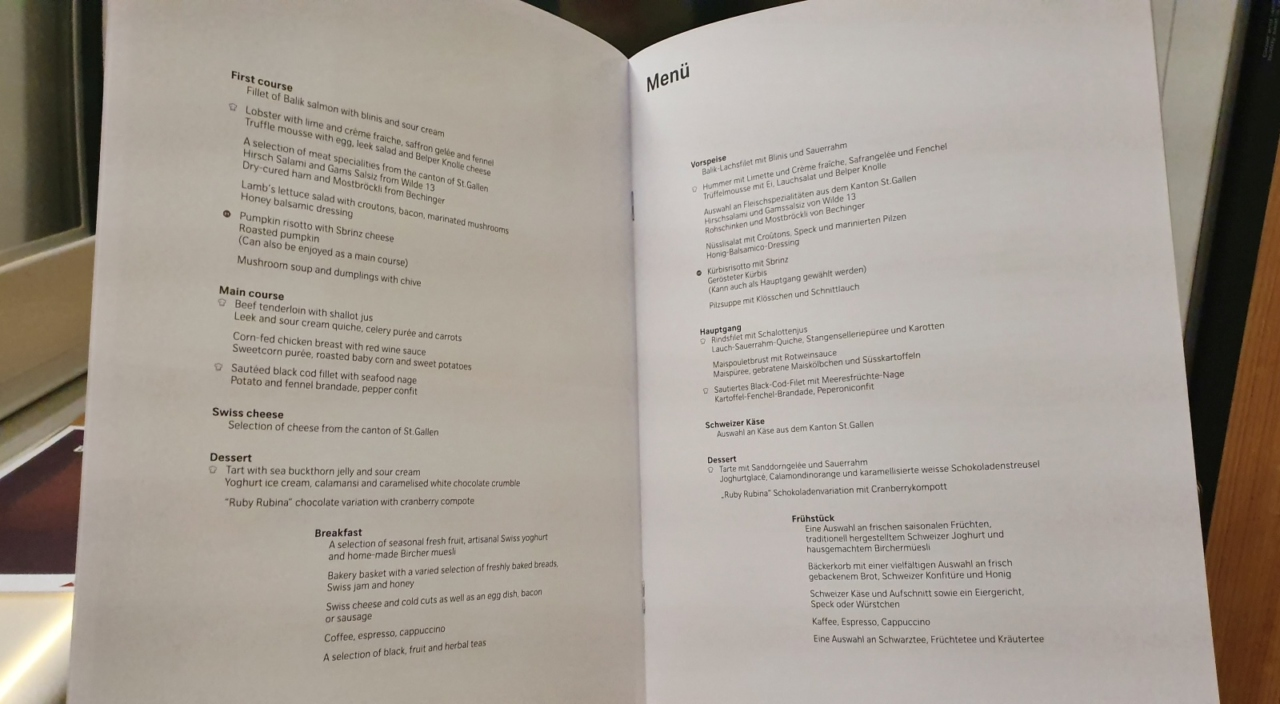 Swiss First Class dining menu