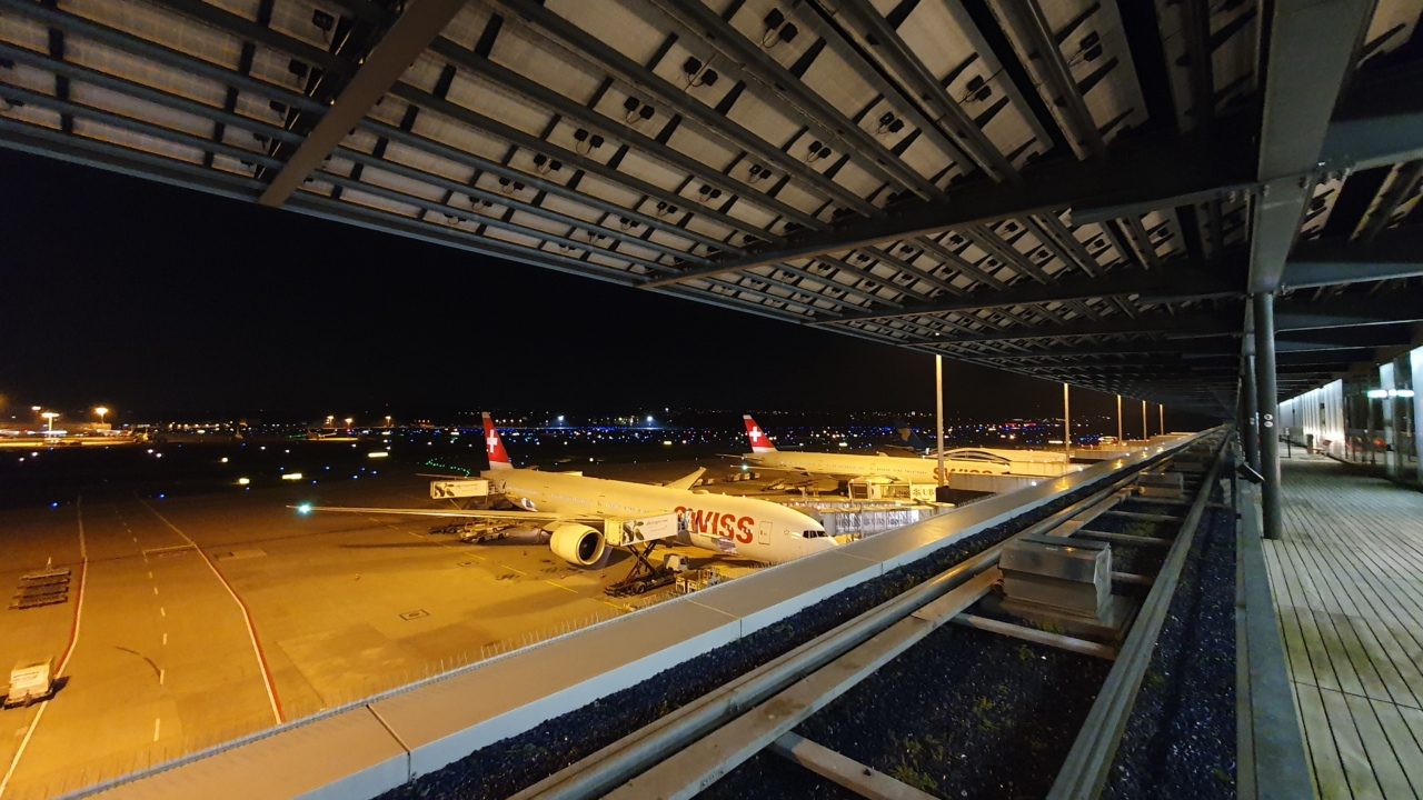 Zurich airport airfield at nighttime