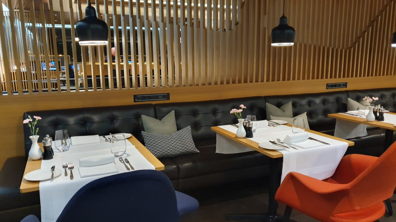 Swiss First Class Lounge dining area